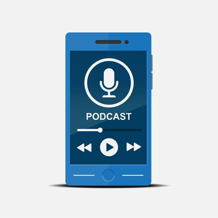 Podcast concept on smart phone vector flat design.