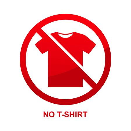 No t-shirt sign isolated on white background vector illustration.