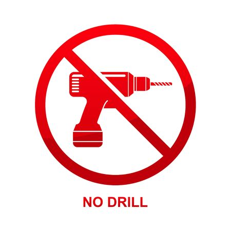 No drill sign isolated on white background vector illustration.