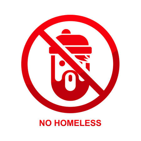 No homeless sign isolated no white background vector illustration.