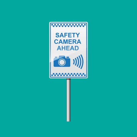 Safety camera ahead sign isolated on background vector illustration.