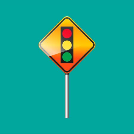 Traffic lights ahead sign isolated on background vector illustration.