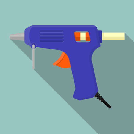 Electric hot glue gun vector flat design.