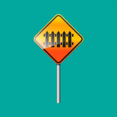 Railway crossing ahead sign isolated vector illustration.