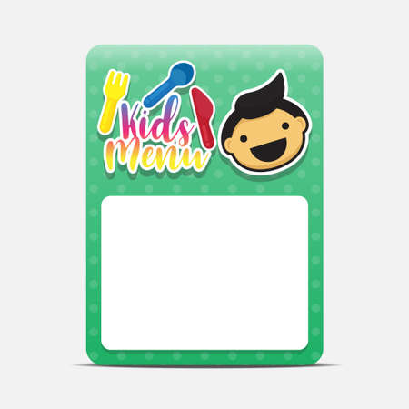 Kids menu template isolated on white background vector illustration.  イラスト・ベクター素材
