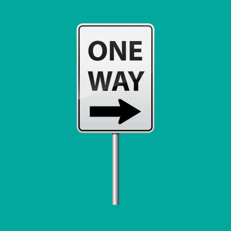 One way sign isolated on background illustration.