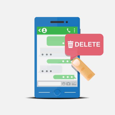 Delete a conversation message in smartphone vector illustration.  イラスト・ベクター素材