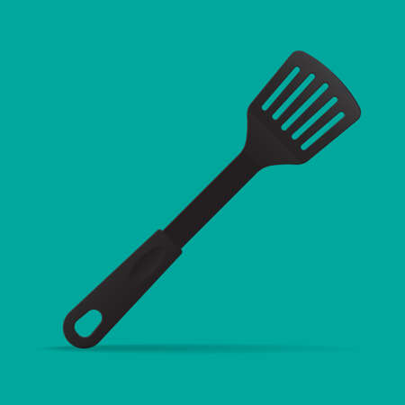 Slotted nylon spatula icon vector illustration.