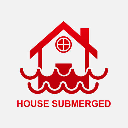 House submerged icon isolated on white background vector illustration.  イラスト・ベクター素材