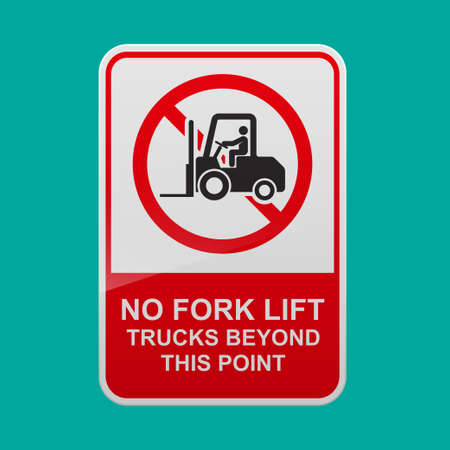 No fork lift trucks beyond this point sign vector illustration.  イラスト・ベクター素材