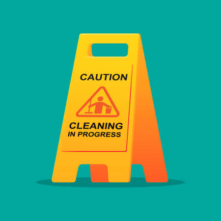 Cleaning progress caution sign vector illustration.  イラスト・ベクター素材