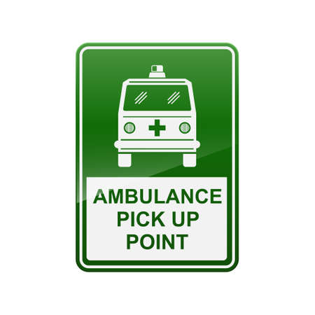 Ambulance pick up point sign isolated on white background vector illustration.  イラスト・ベクター素材