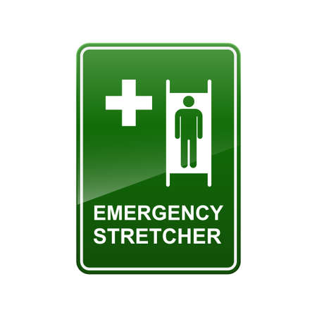 Emergency stretcher sign isolated on white background vector illustration.