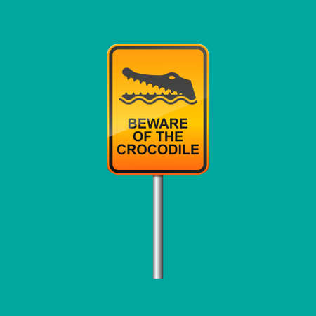 Beware of the crocodile sign isolated on background.  イラスト・ベクター素材