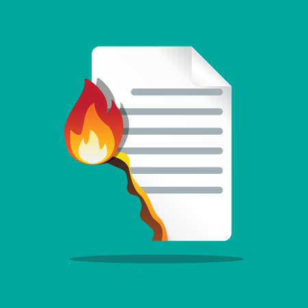 Burning paper icon vector flat design.
