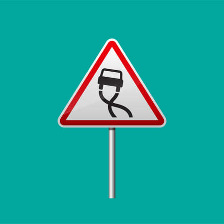 Slippery road sign isolated on background vector illustration.