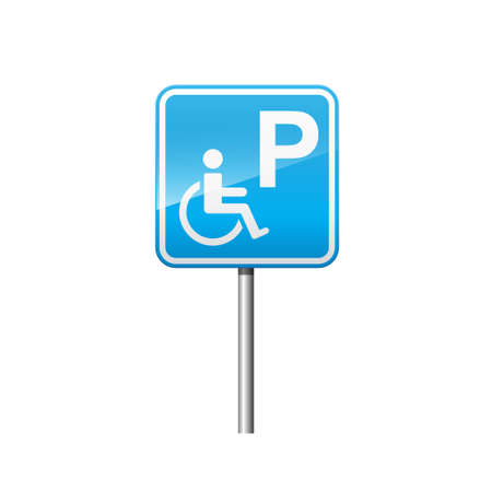 Handicapped parking sign isolated on white background vector illustration.  イラスト・ベクター素材
