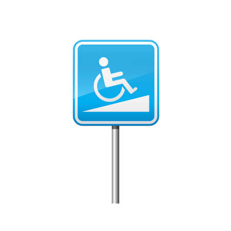 Wheelchair slope sign isolated on white background vector illustration.  イラスト・ベクター素材