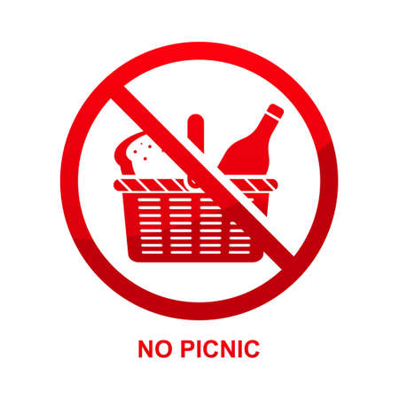 No picnic sign isolated on white background vector illustration.