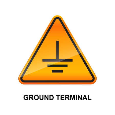 Ground terminal sign isolated on white background.  イラスト・ベクター素材