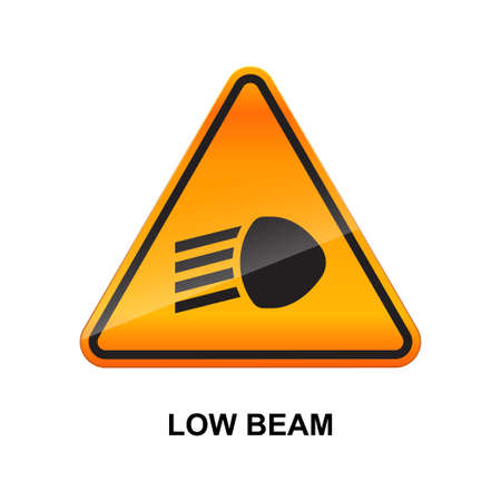Low beam sign isolated on white background vector illustration.