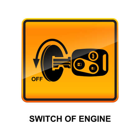 Switch of engine sign isolated on white background vector illustration.  イラスト・ベクター素材