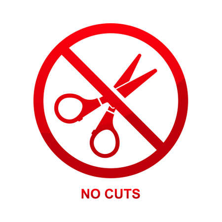 No cuts sign isolated on white background vector illustration.