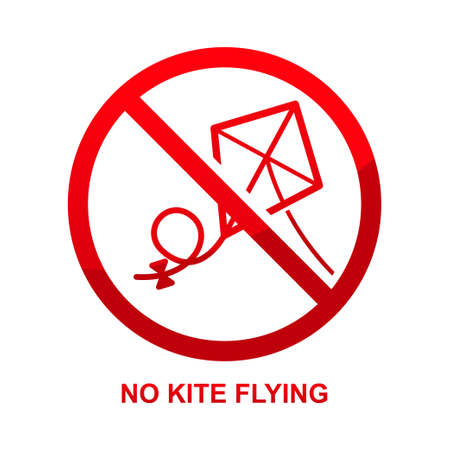 No kite flying sign isolated on white background vector illustration.
