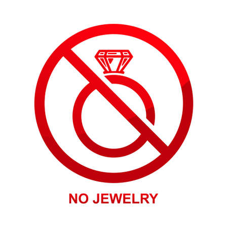 No jewelry sign isolated on white background vector illustration.