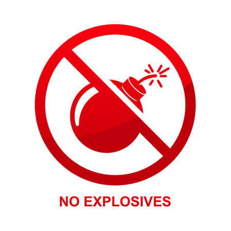 No explosives sign isolated on white background vector illustration.
