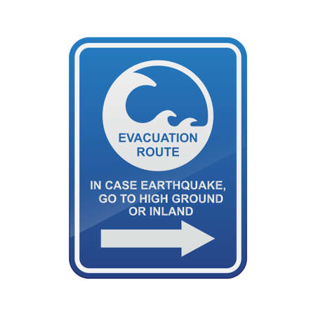 Tsunami evacuation route sign isolated on white background vector illustration.