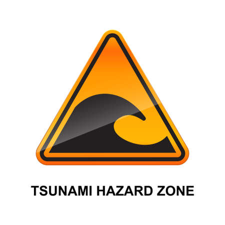 Tsunami hazard zone sign isolated on white background vector illustration.