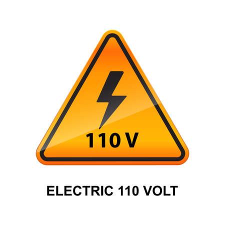 Electric 110 volt caution sign isolated on white background vector illustration. Ilustracje wektorowe