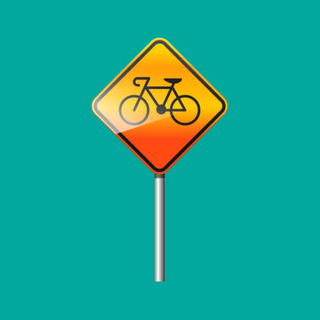 Bicycle traffic warning sign isolated on background.