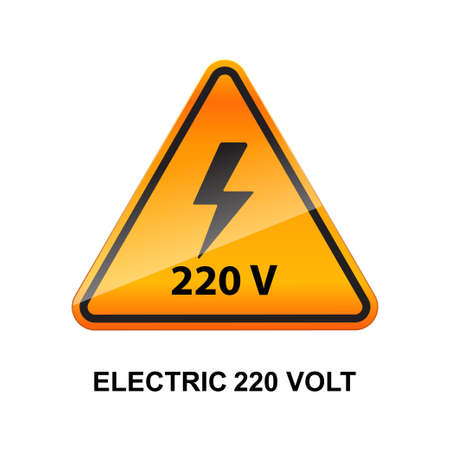Electric 220 volt caution sign isolated on white background vector illustration.