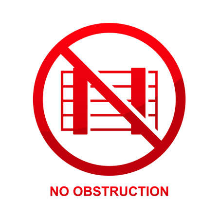 No obstruction sign isolated on white background vector illustration. Vettoriali