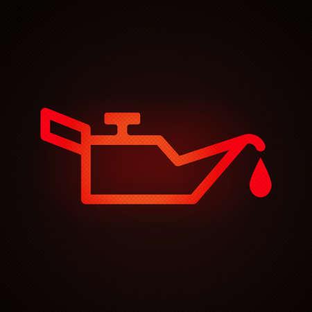 Engine oil warning light vector illustration.