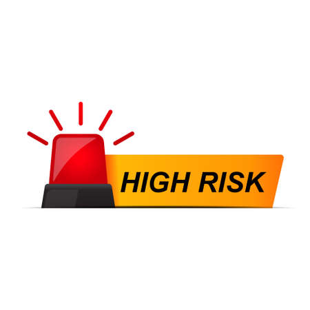 High risk banner isolated on white background vector illustration.