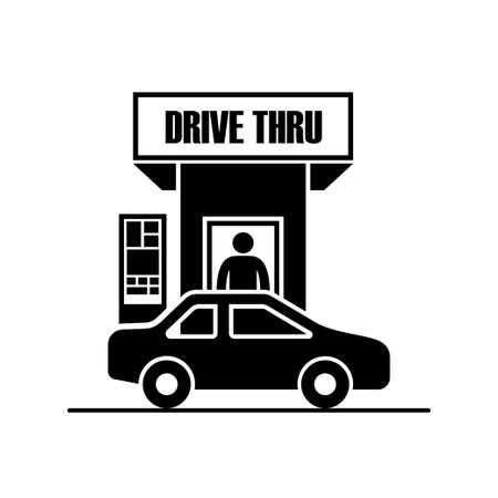 Drive through icon isolated on white background vector illustration.