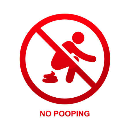 No pooping sign isolated on white background vector illustration.