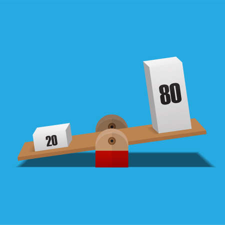 80 and 20 balance on scale,pareto principle scale,80/20 principle isolated on background vector illustration. 向量圖像