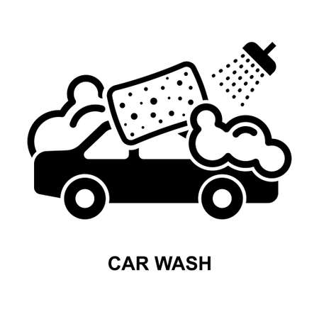 Car wash icon isolated on white background vector illustration. 矢量图像