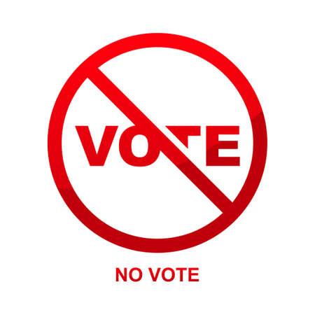 No vote sign isolated on white background vector illustration. Vektorgrafik