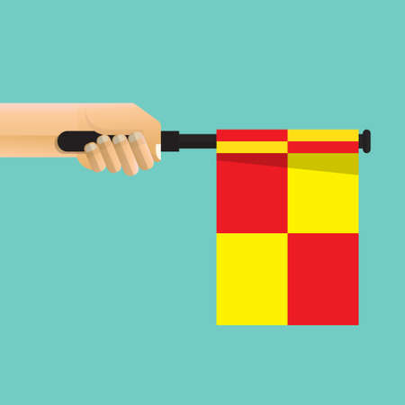 Hand holding referee flag isolated on background vector illustration.