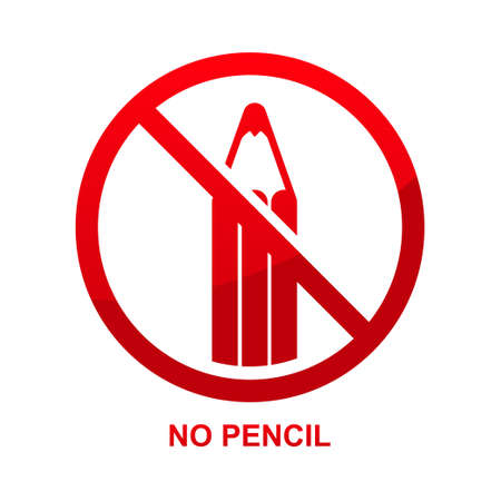 No pencil sign isolated on white background isolated on white background.
