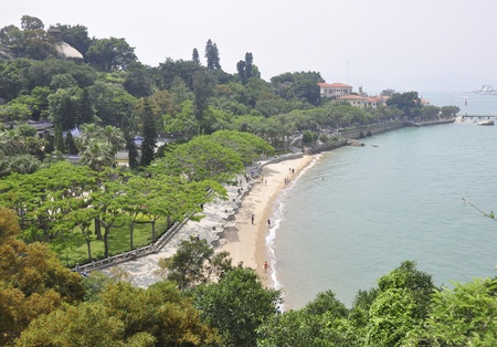 xiamen landscape with downtown and beach