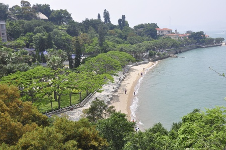 xiamen landscape with downtown and beach Editorial