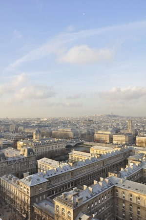 Bird view of Paris panorama from top of Notre Dame  Stock Photo