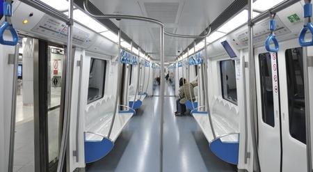 inside detail of metro cart of Beijing subway Editorial