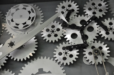 Big mechanical components shown on the wall Stock Photo - 12357361